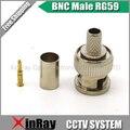 Бесплатная доставка BNC обжимные штыревые вилку для RG59 коаксиальный кабель, Rg59 BNC разъем BNC 3-piece обжимные вилки RG59 AC23