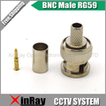 Freeshipping BNC macho cravar plugue para o cabo coaxial RG59, peças friso conector conecta RG59 BNC Conector BNC macho RG59 AC23
