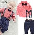 2017 мода детская одежда сетка рубашка + подтяжк новорожденных с Длинным рукавом baby boy одежда Бантом джентльмен костюм бесплатная доставка