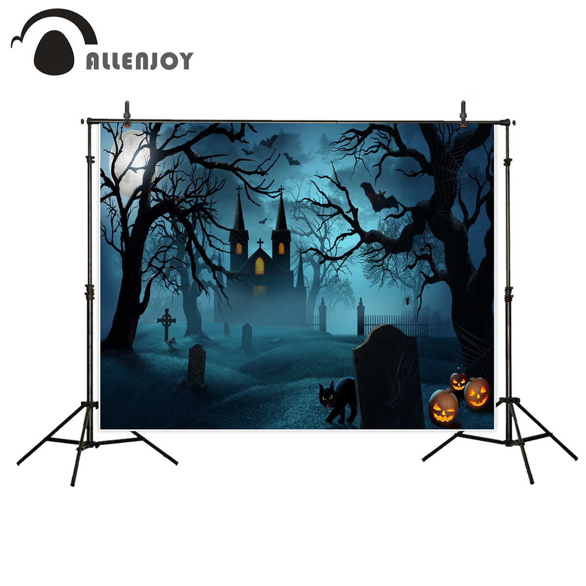 Allenjoy photo background Halloween castle in night tombs moon forest crows pumpkin lamp horrible Photostudio For a photo shoot six crows