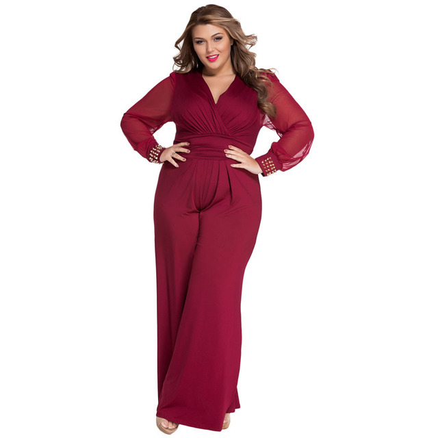b165d125f76 2018 Jumpsuit Women Rompers Mesh Long Sleeve Wide Leg Large Plus Size 3XL  Sexy Lady Rivets Black Red Jumpsuits Casual Overalls