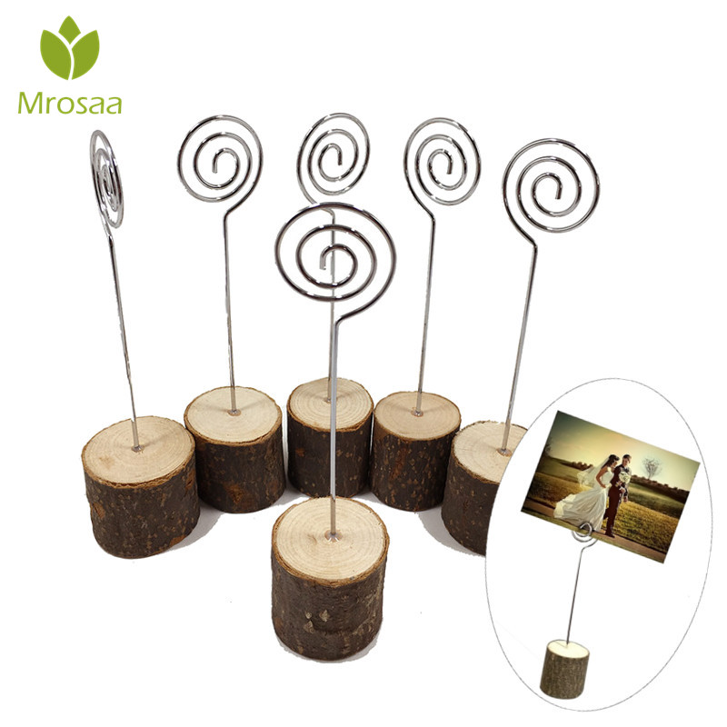 10Pcs Wooden Stump Metal Wire Business Cards Holder Wedding Party Name Place Card Holder Stand Office Desk Menu Photo Clips