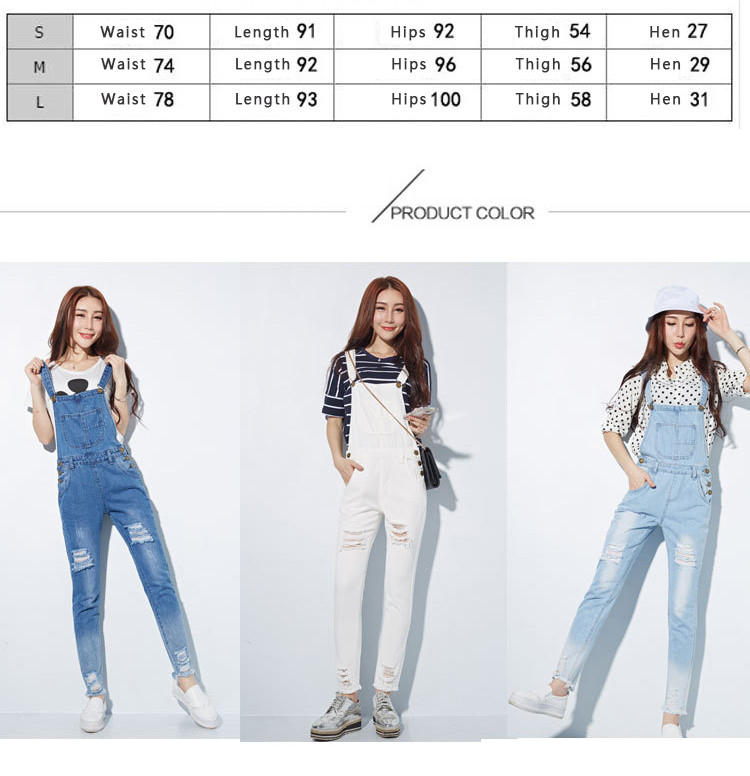 HCYO Fashion Jumpsuit Female Denim Overalls for Women Bodysuit salopette femme En Jean Women Ripped Hole Denim Jumpsuits Rompers (4)