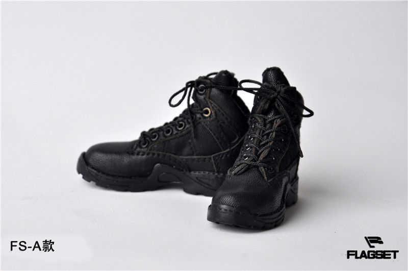(1 пара) 1/6 мужские черные кожаные бретели для одежды военные ботинки короткие ботинки F 12 ''мужская фигура