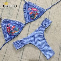 Oiyeefo Micro Thong Bikini Brazilian Biquine Embroidery Floral Striped Women S Swimsuit Frilly Ruffle Women Swimwear