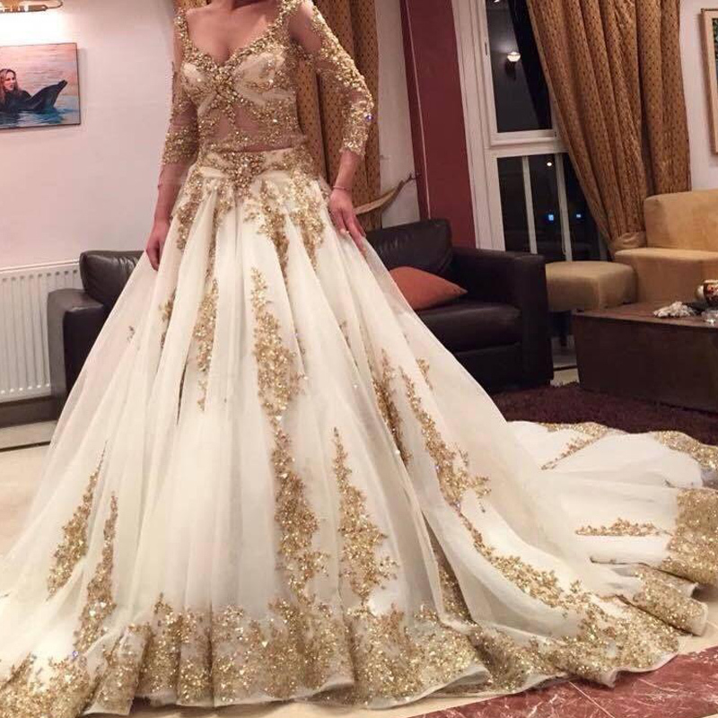 Buy Luxury Wedding Dresses : Aliexpress buy luxury muslim wedding dresses gold sequins