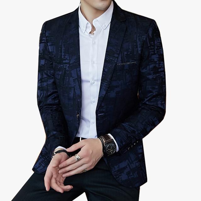 Patrón de rayas abrigos para hombre Slim Fit Blazer Slim Casual de hombre  elegante primavera y a1e7688b2bb