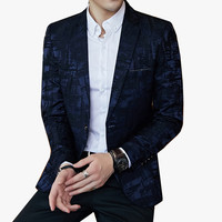 Striped Pattern Blazers Mens Slim Fit Blazer Slim Business Casual Male Stylish Spring Autumn Korean version Suit Jacket