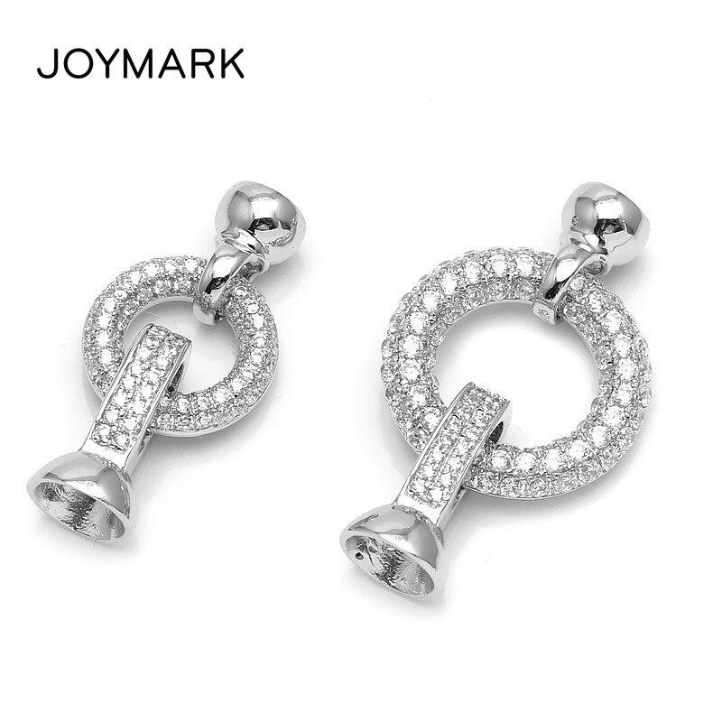 Rond Pave Zircon 925 bijoux en argent Sterling résultats embouts connecteur fermoirs pour bricolage perle collier Bracelet faisant la SC-CZ070