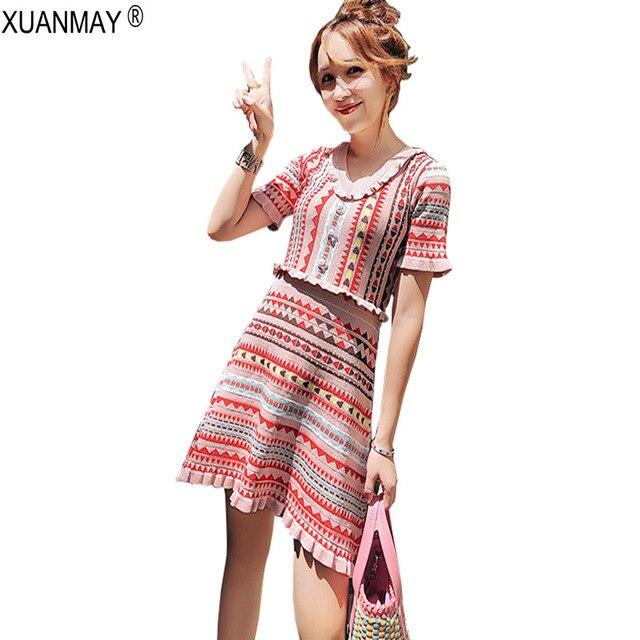 2018 קיץ נשים של בוהמיה סוודר שמלת Streetwear ורוד קצר שרוול לסרוג שמלת קיץ Slim אקארד דפוס סוודר שמלה