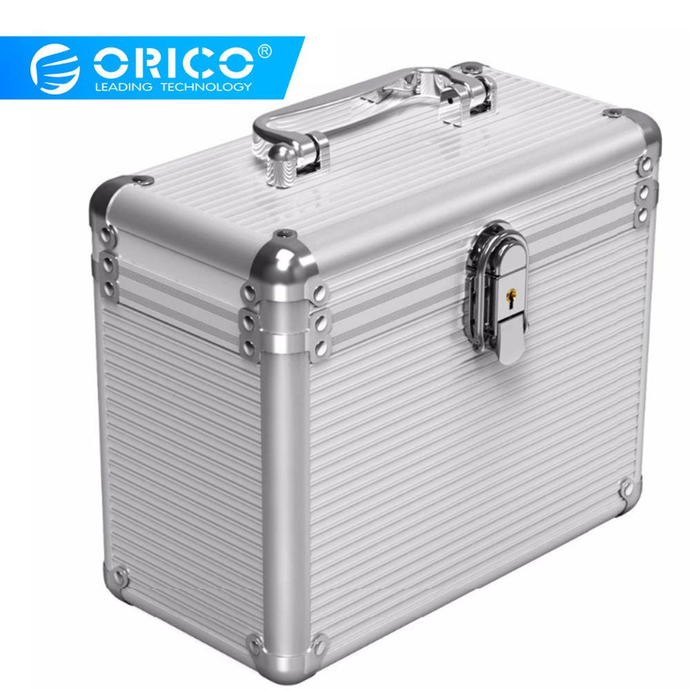 Orico BSC35 Aluminum 5/10 Bay 3.5 inch Hard Drive Protection Box Storage with Locking   Silver-in Hard Drive Bags & Cases from Computer & Office    1