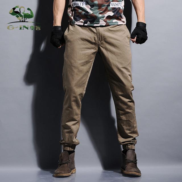 Plus tamaño pantalones joggers mens khaki khaki esposadas joggers pantalones basculador pantalones de los hombres pantalones largos de algodón europea nuevo negro jogger