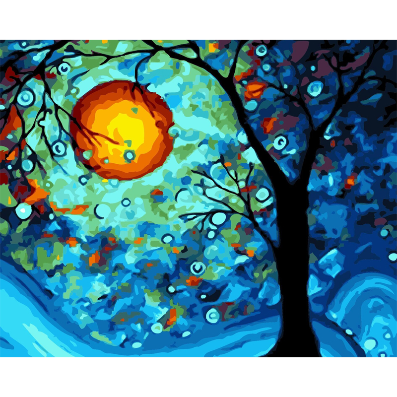 Wisdom Tree Abstract Colored Landscap Oil Painting Art