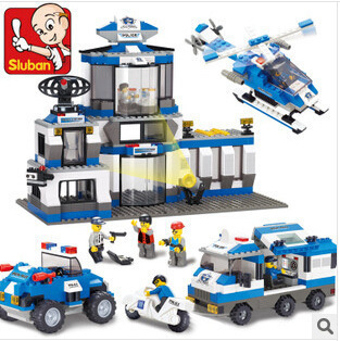 Sluban model building kits compatible with lego city police 455 3D blocks Educational model & building toys hobbies for children