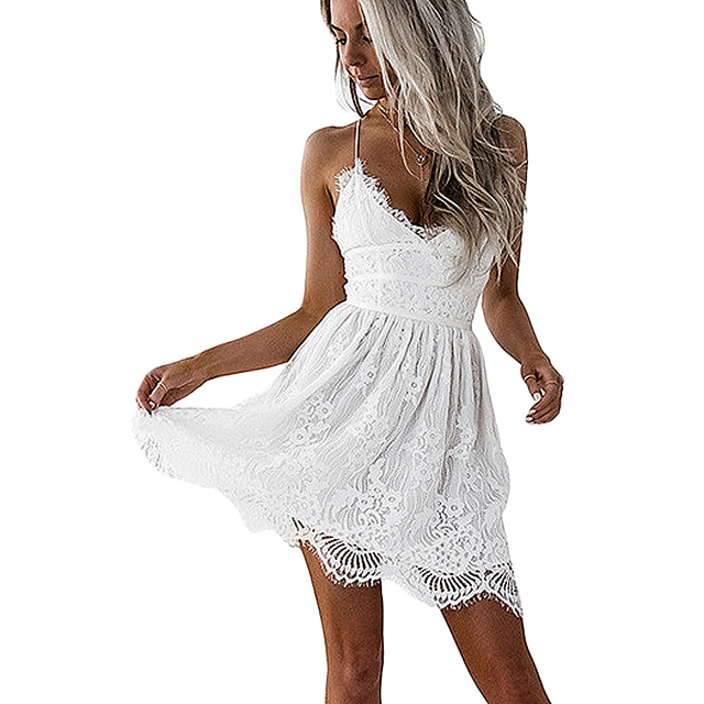 Sexy V Neck Hippie White Lace Dress Summer Short Backless Spaghetti Strap  Boho Cami Dress Woman Party Mini Dresses Camisas Mujer bc46e716a