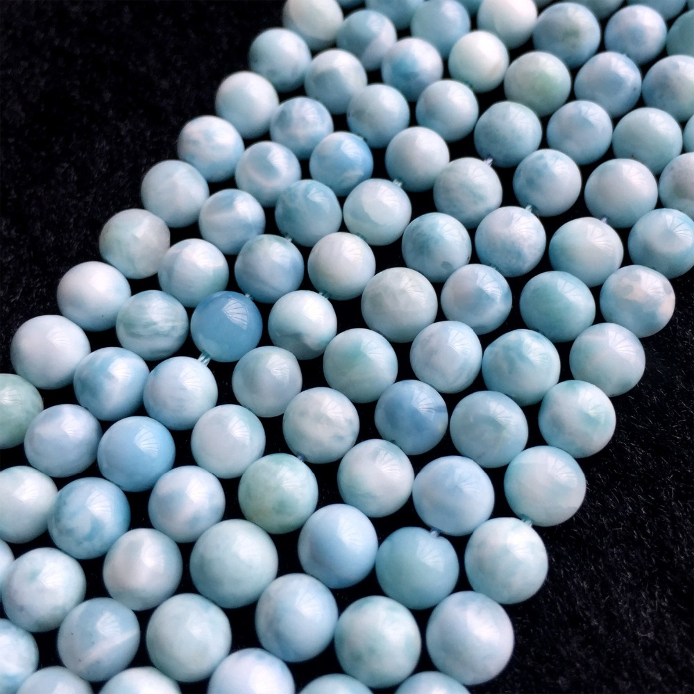 High Quality Natural Genuine Dominican Republic Sky Blue Larimar Round Loose Gems Beads 6-12mm 15 06008High Quality Natural Genuine Dominican Republic Sky Blue Larimar Round Loose Gems Beads 6-12mm 15 06008