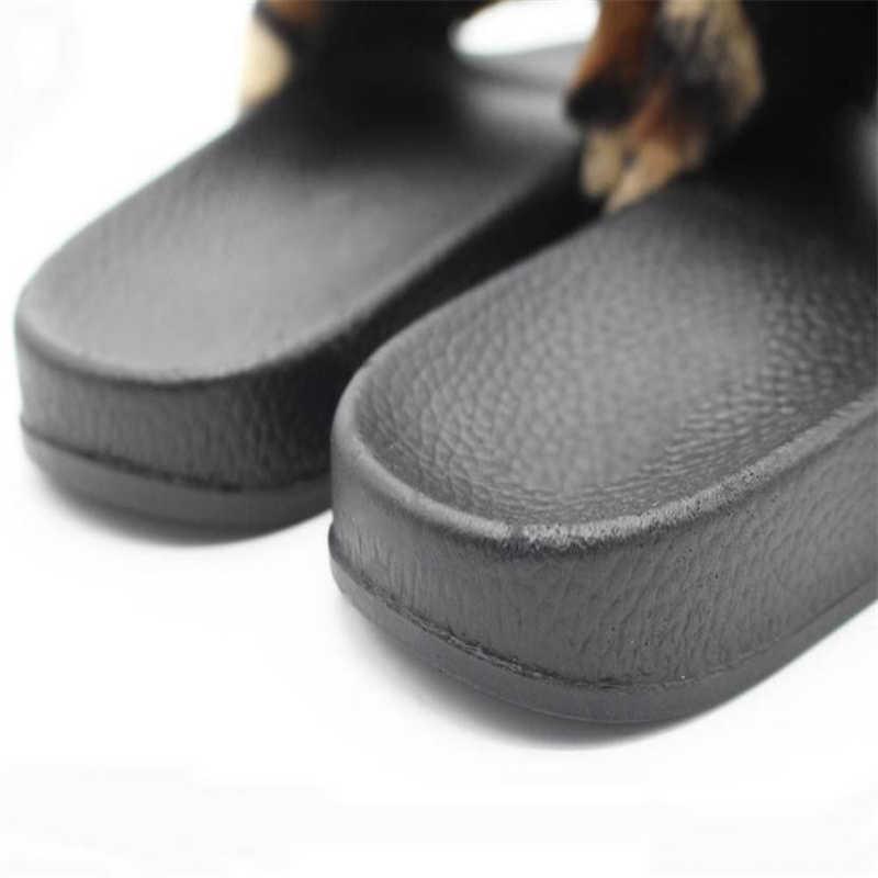 5bd75572d40 ... flip flops sandals girls Womens Ladies Sliders Leopard Fluffy Faux Fur  Flat Slipper Flip Flop Sandal ...