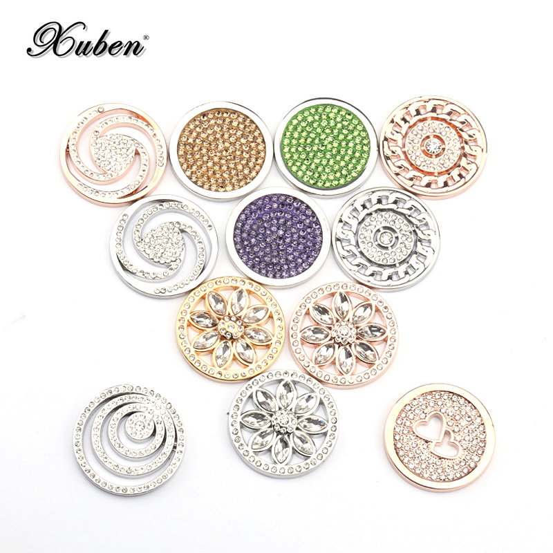 Multicolor Crystal  23mm Coins Disc Pendant