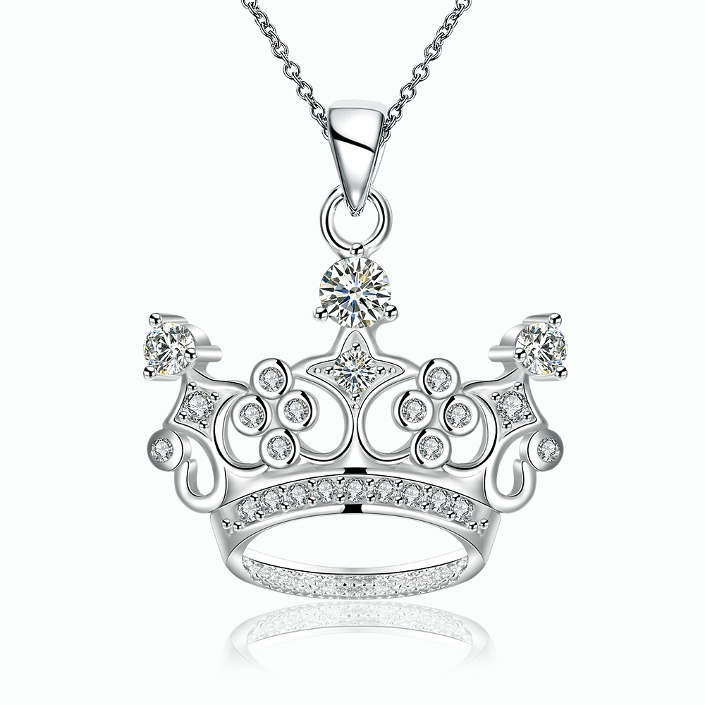 JEXXI Elegant Noble Crown Cubic Zirconia Pendant Chain Necklace Charm 925 Sterling Silver Jewelry Necklace Girl Necklace