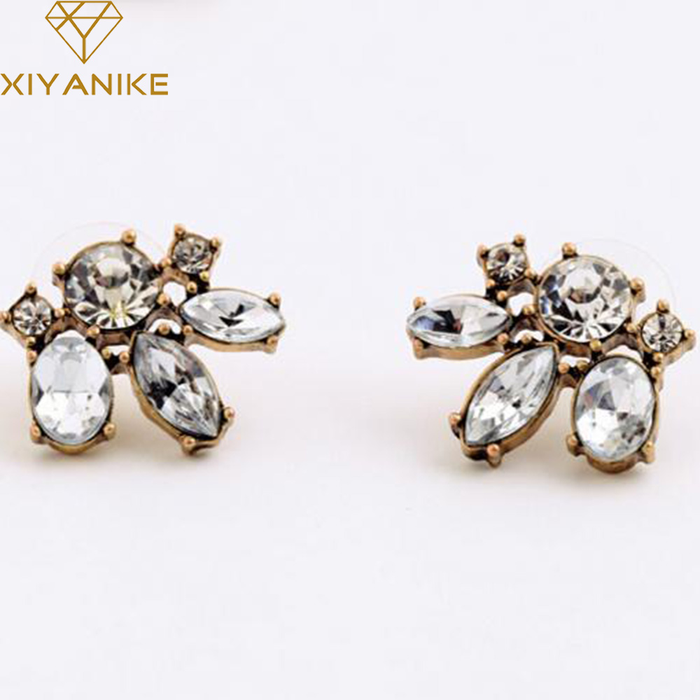 Hot Sale New Design Fashion Accessories Vintage Rhinestone Crystal Women Small Stud Earrings Free Shipping Brincos XY-E353