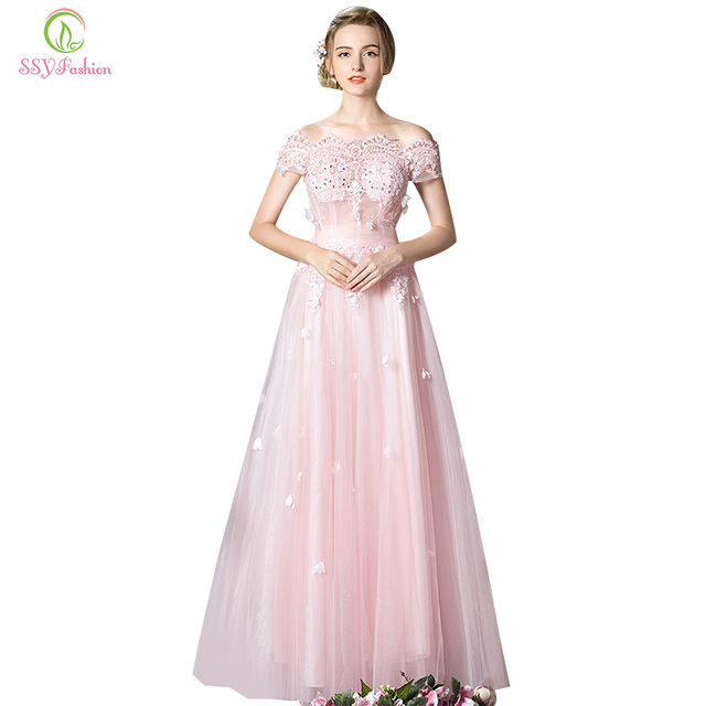 2017 SSYFashion Pink Lace Flower Beading Long Evening Dress The Bride  Banquet Slim Sexy Transparent Party Prom Dresses Custom 31f736b94c65