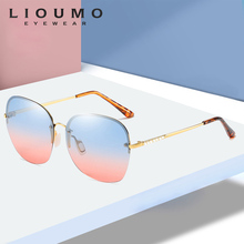 Fashion Rimless Sunglasses Women Gradient SunGlasses With Crystals For Outdoor Travelling Female Polarized Eyewear Trendy Shades