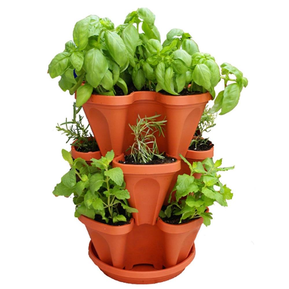 Keybox 3pcs Stackable Garden Planter Herb Flower Pots