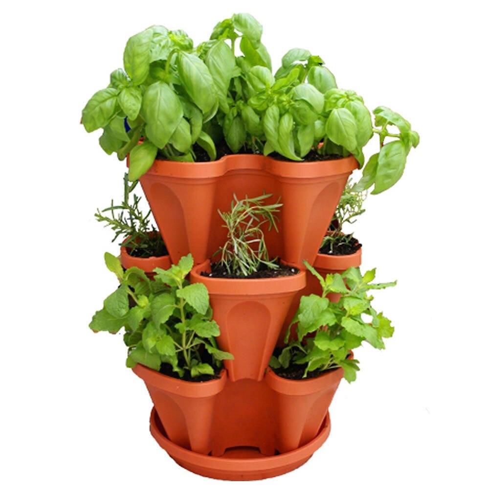 KEYBOX 3pcs Stackable Garden Planter Herb Flower Pots Indoor Outdoor Round  Clover(China (Mainland