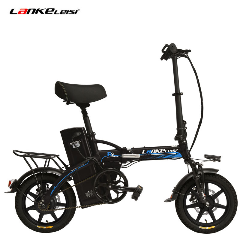 Portable 14 Inches Folding Electric Bicycle, 48V 23.4Ah Strong Lithium Battery, Integrated Wheel, Suspension EBike