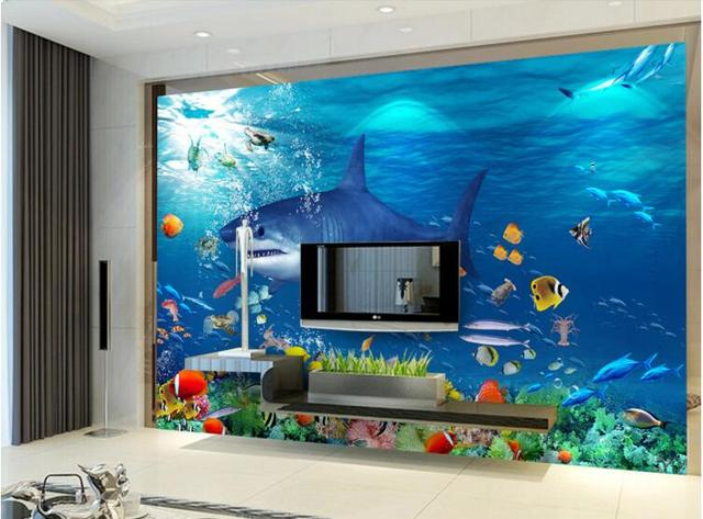 3d room wallpaper custom mural non woven wall sticker Shark sea blue ...