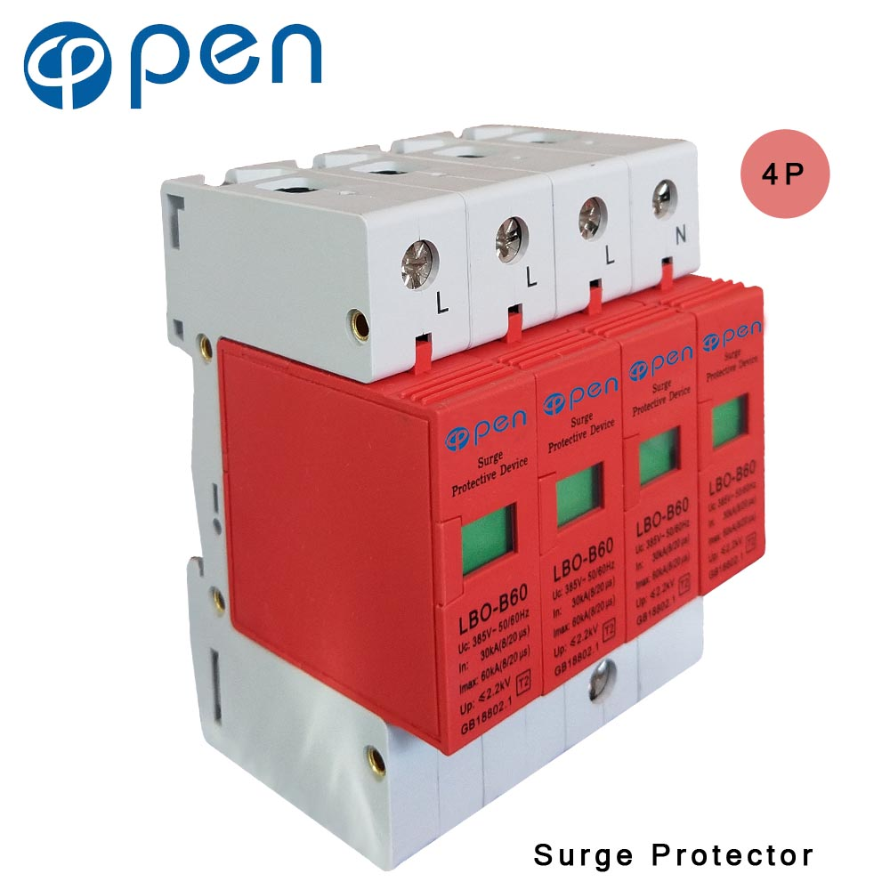 OPEN LBO-B60 Series Household SPD Surge Protector 3P+N 30kA 60kA 380VAC Low Voltage Arrester Device Red