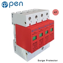 купить OPEN LBO-B60 Series Household SPD Surge Protector 3P+N 30kA 60kA 380VAC Low Voltage Arrester Device Red дешево