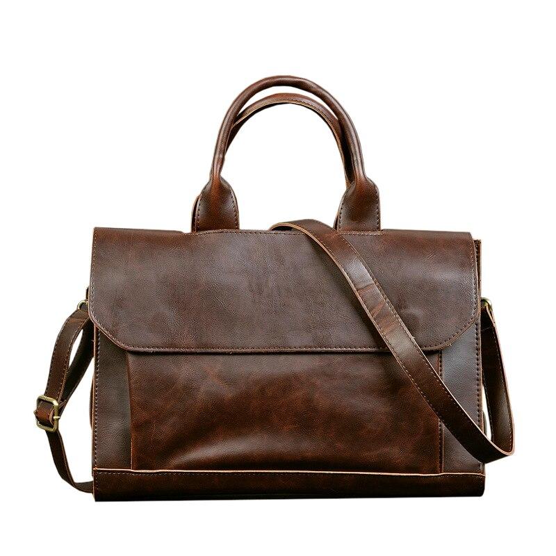 LJL ETONWEAG Vintage Briefcases Men Messenger Bags Brown Luxury Business Briefcase Document Lawyer Laptop Bag