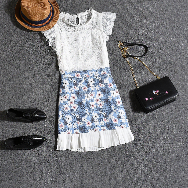 Summer Runway designer womans clothing set Lace white ruffles sleeve blouse women And Retro floral blue skirts suit NS588