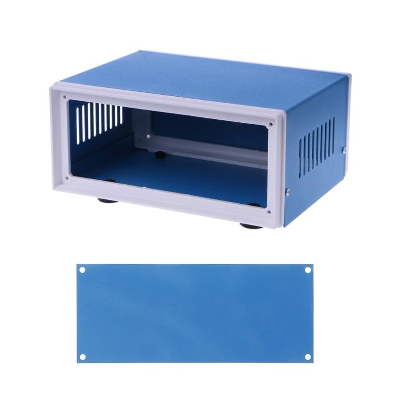 цена на Blue Metal Enclosure Project Case DIY Junction Box 6.7 x 5.1 x 3.1