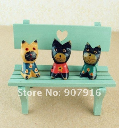 wooden craft arts cat brothers handicraft animal desk office car home decoration gift  for friends novely