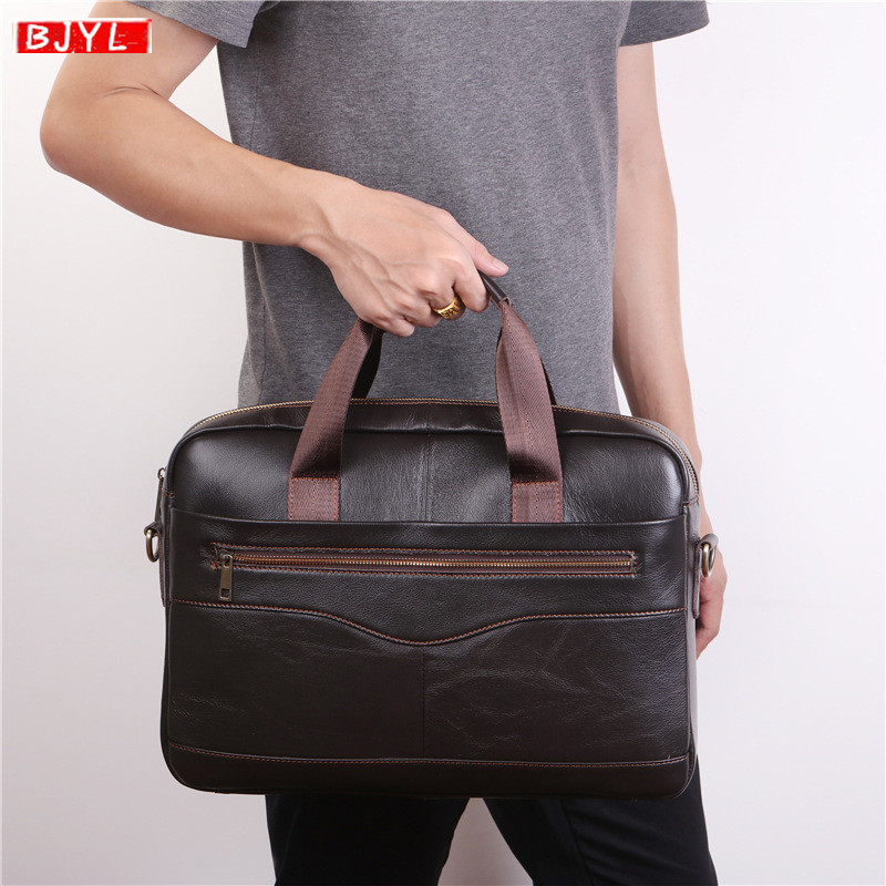 BJYL Cowhide Leather Men's Briefcase Laptop Handbag Brown Genuine Leather Men Shoulder Bag Business Travel Crossbody Briefcases