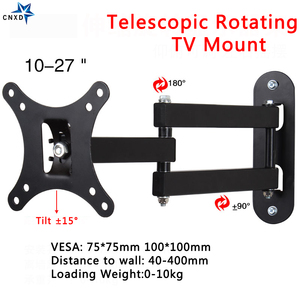 Image 2 - Universal TV  Wall Mount Adjustable Flat Panel Frame TV Wall Mount Bracket Support 15 Degrees Tilt for 10 27in LCD LED Monitor