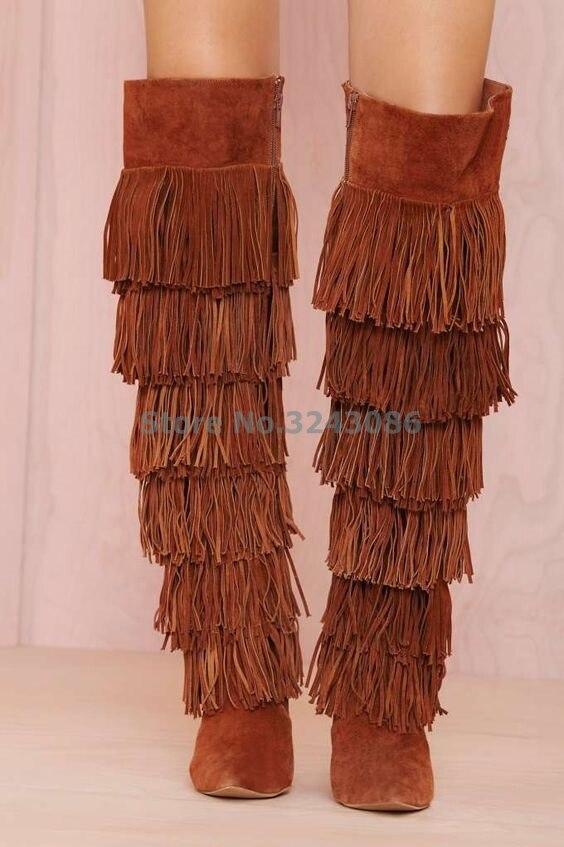 Femmes as Bottes Brun As Frange Haute Bout Casual Picture Mince Bohème Noir Picture Pointu Style Long Genou Talon Longue BZXwBWvTq