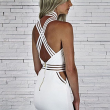 INDRESSME 2017 New Women Sexy Solid Sleeveless Hollow Out Spaghetti Strap Halter Summer Dress