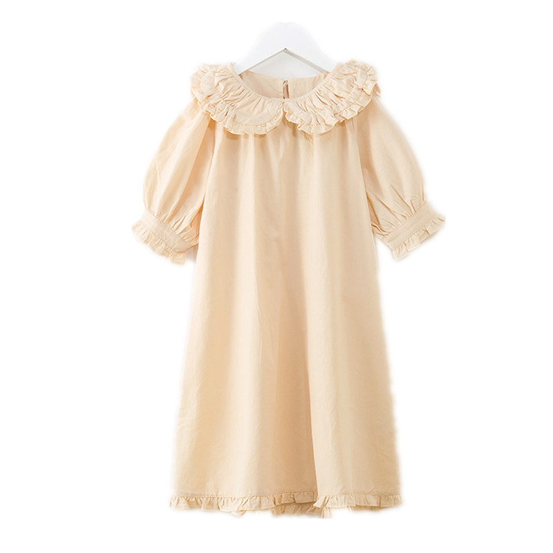 6 to 14 years kids & teenager girls 2018 summer ruffle hem princess cotton shift dress children fashion new pink beige dresses