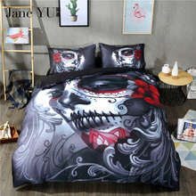 Jane YU Christmas Gift 3D Halloween Bedding Set Skull 4Pcs Coverlet Full Queen King Size