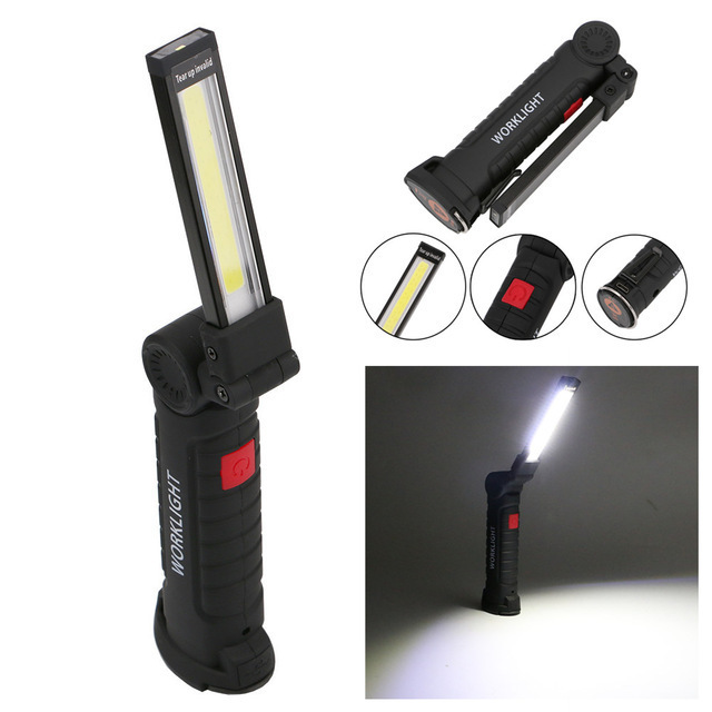 30 Led Rechargeable Inspection Lamp Light Torch Cordless: Portable COB LED Foldable WorkLights Flashlight