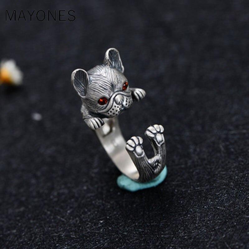 Livraison directe Vintage Thai argent rouge oeil coupe chien anneau mode mariage mignon chat anneaux pour les femmes