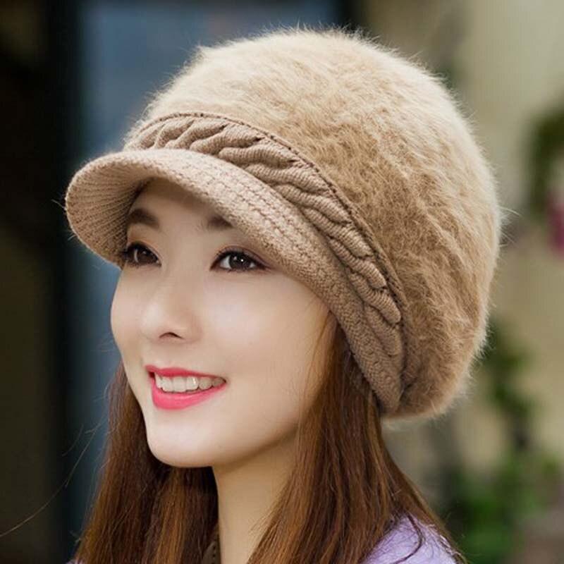 Fashion Women Hat Winter Skullies Beanies Knitted Hats Rabbit Fur visor beret Cap mink skullies hat beret knitted hat women winter gorgeous 2294
