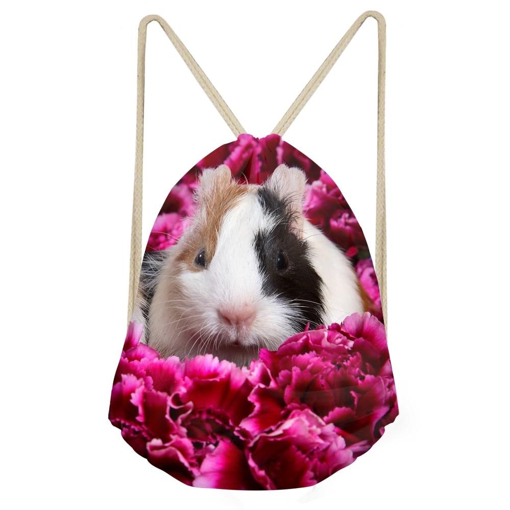 Funny 3D Animal Guinea Pigs Print Women Drawstrings Bags Travel Backpacks Softback Storage Beach Bag for
