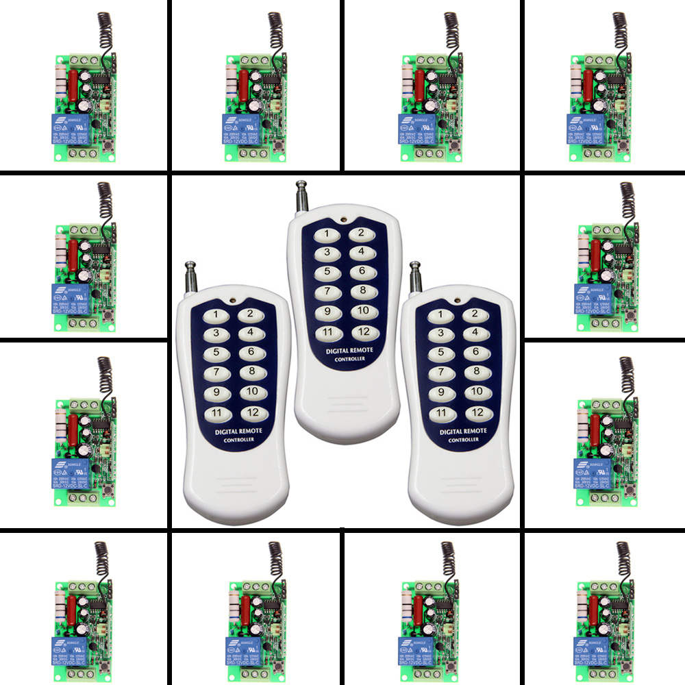 AC 220V 110V 1 CH 1CH RF Wireless Remote Control Switch System,(3 12CH Transmitter+12 Receiver),Toggle/Momentary,315/433.92 new ac 220v 30a relay 1 ch rf wireless remote control switch system toggle momentary latched 315 433mhz
