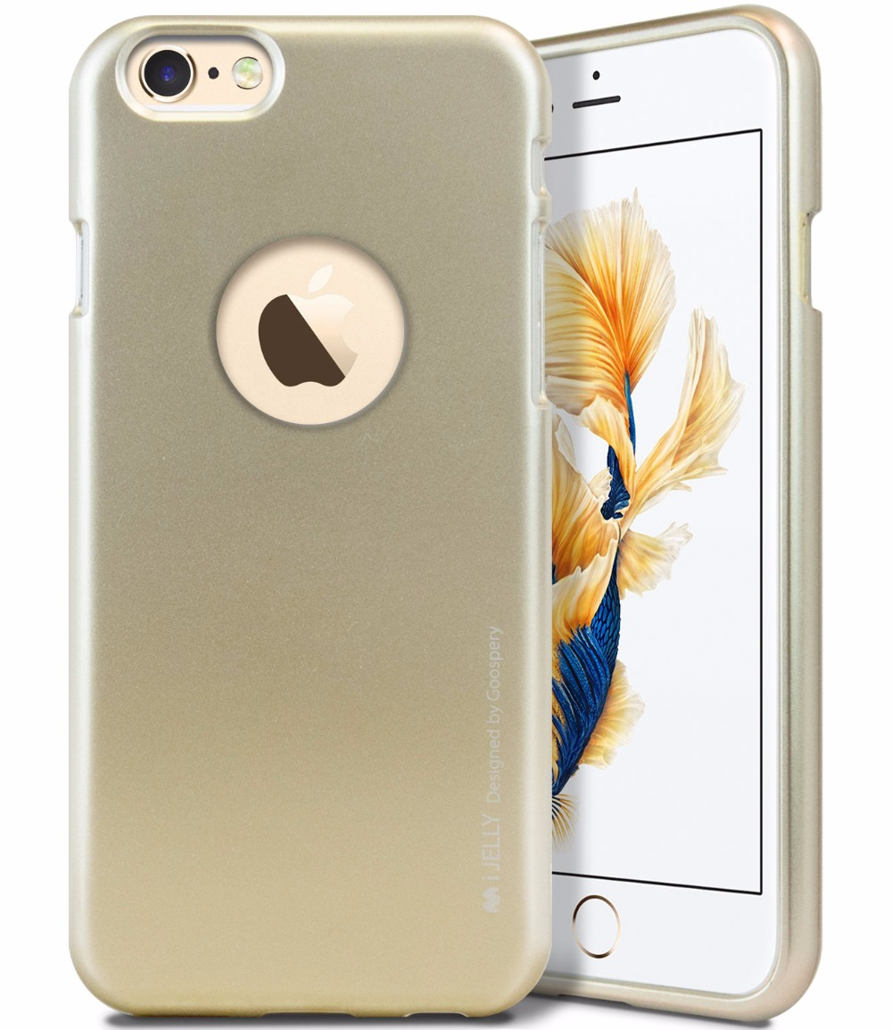 Mercury Goospery I Jelly Tpu Bumper Case Slim Metallic Logo Hole Cut Pearl All Type Special  Gold Cover For Iphone 6 7 Plus 6s In Half Wrapped From Cellphones