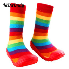 Toddler Shoes Baby Girls' Boys' Socks With Rubber Soles Anti Slip Toddler Indoor Floor Shoes Infant Socks LMY206 цены онлайн