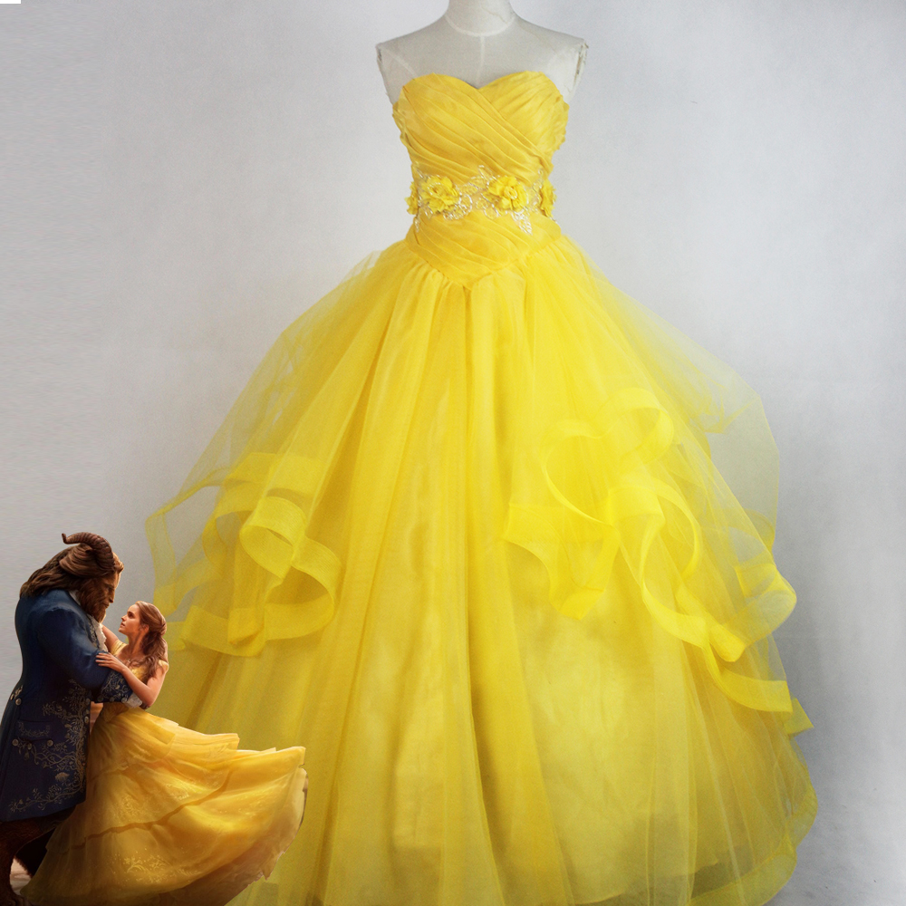 2017 New Cosplay Adult Princess Belle Costume Beauty and The Beast Fancy Dress